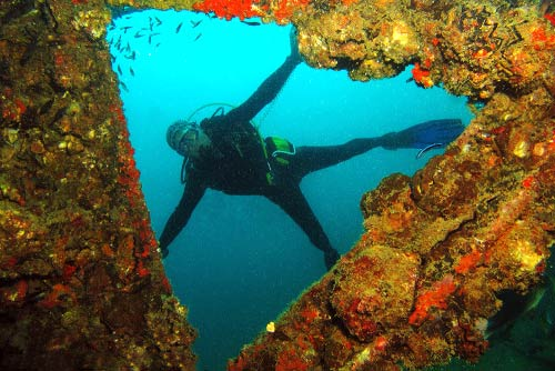 diver at Boonsung or bonsoong wreck